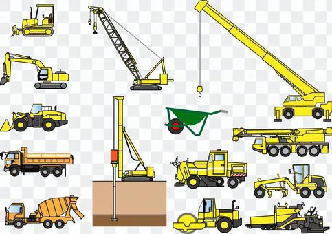 Set of illustration of construction machine