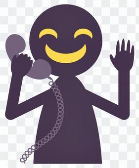 一個騙子在打電話時笑