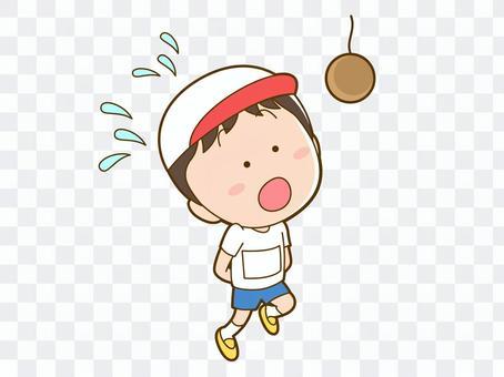 男孩們在運動會上爭奪吃麵包的機會_014