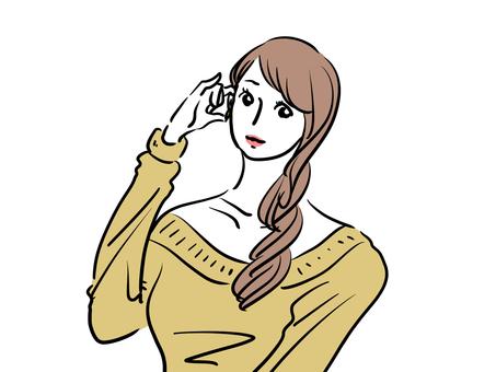耳朵上有頭髮的時尚女人