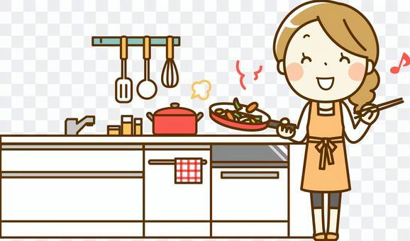 主婦在廚房做飯