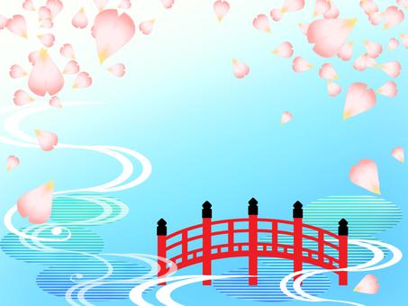 Japanese pattern frame of Sakura Fubuki (vermilion bridge scenery)