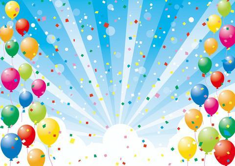 氣球,天空和紙blizzard_background材料02