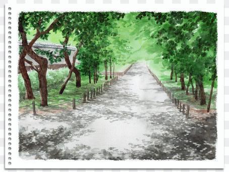 模擬水彩山水畫水戶古道館公園梅林
