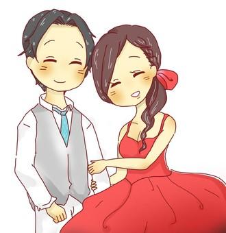 可愛的新娘和新郎