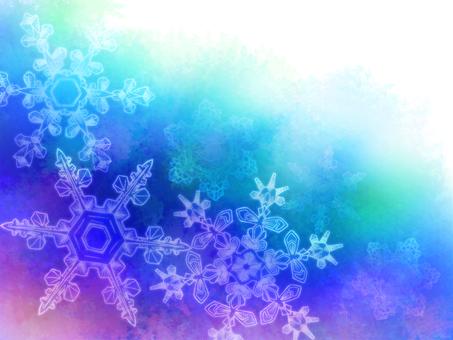 藍色水彩級雪花框架