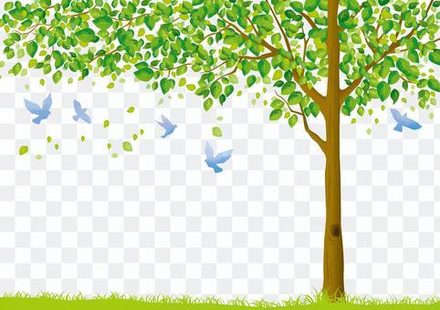 木と青い鳥