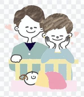 [簡短]一對夫婦看著嬰兒的熟睡的臉