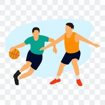 打籃球的兩個人
