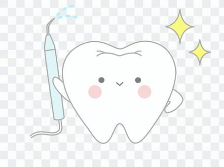 帶有超聲波潔牙機的牙齒(去除牙結石)