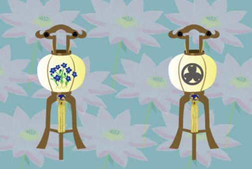 Obon節日的燈籠和蓮花消息卡片
