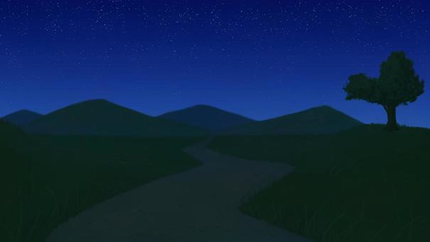夜晚的草原之路和滿天星斗的天空的背景16:9