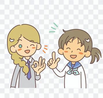 外国人女子と日本人女子学生 2