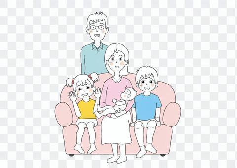 中吉家族_父母兄弟姐妹紅色_簡單手繪
