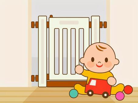 赤ちゃんとベビーゲート