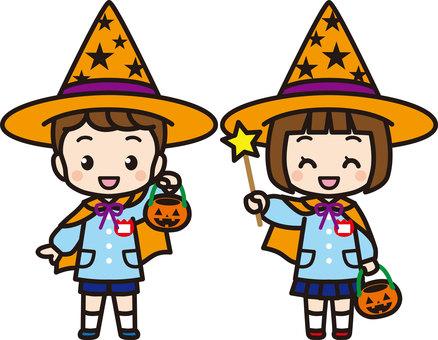 Kindergarten children in Halloween costumes