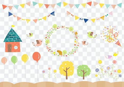 氣球和鳥材料