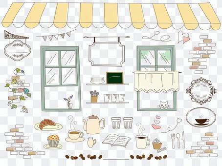 手繪風格咖啡館
