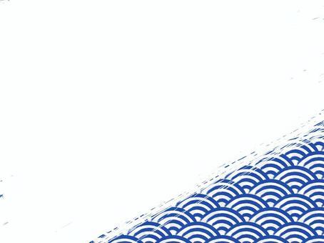 毛筆寫青海波浪填充背景:右下:藏藍x白
