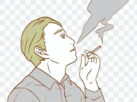 抽煙(顏色簡單)的男人