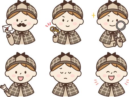 Child detective icon set boy 2