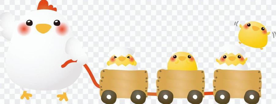 雞的父母和孩子的火車