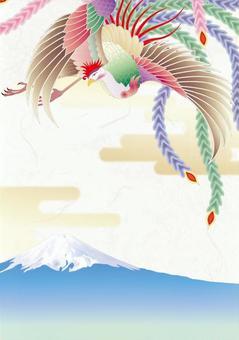 Phoenix _ Japanese paper background _ Mt. Fuji