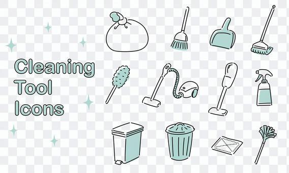 簡單的圖標集的清潔用品