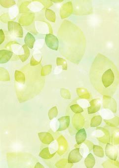 Glitter background of watercolor-style fresh green leaves