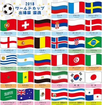 Various national flags Flaunted World Cup participation country edition