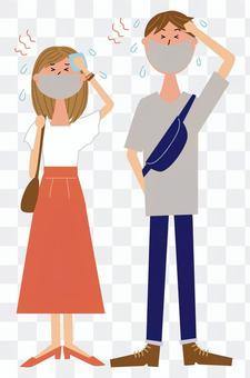 Fashionable couple_summer_mask heat stroke
