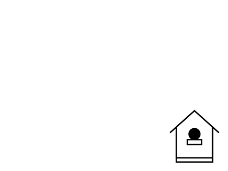 Simple birdhouse background: monochrome line drawing