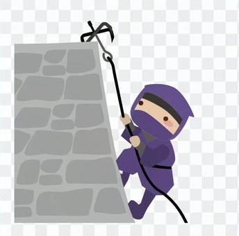 Ninja wall climbing