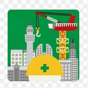 Construction site and worker icon