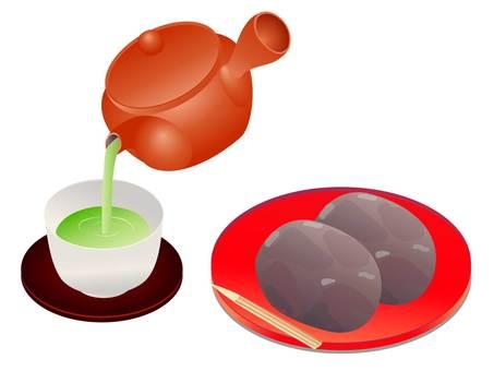 倒豆瓣醬和茶的插圖