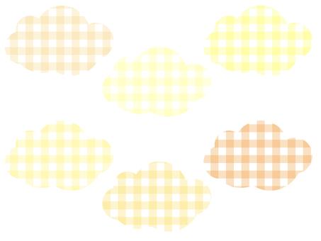 方格格紋雲彩套裝:黃色
