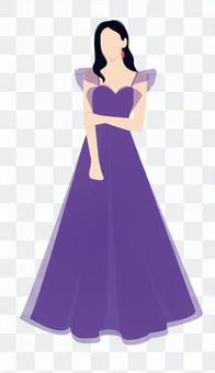 紫色禮服的婦女