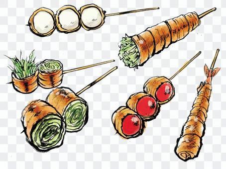 肉捲蔬菜和其他串烤