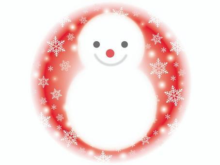 雪人和圓雪背景
