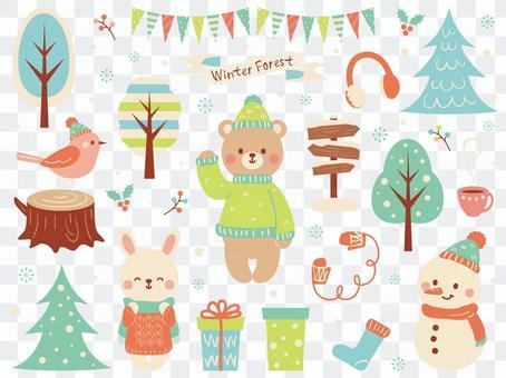 冬季森林動物