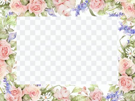 粉紅色的玫瑰和亞布蘭花框架