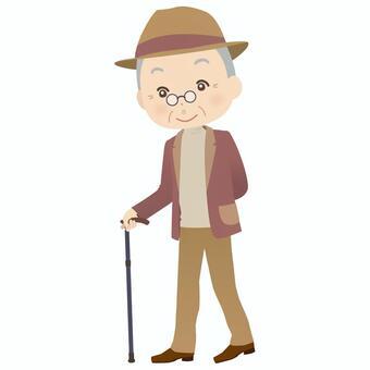 Grandfather who puts a cane