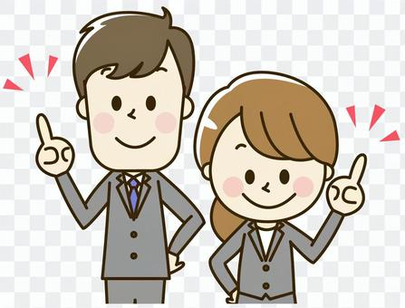 Male and female employee of a suit 2-4-2 points