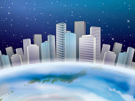 地球和日本地圖和建設城市的形象