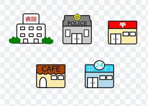 醫院和便利店等建築物的插圖