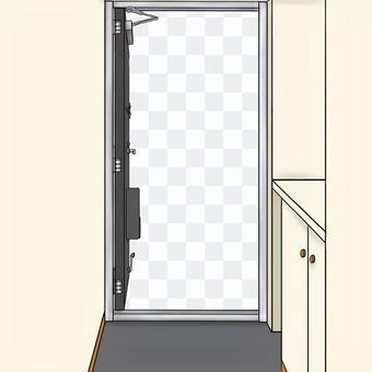 玄関ドア 黒 全開