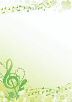 新鮮的綠色三葉草春天音樂框架