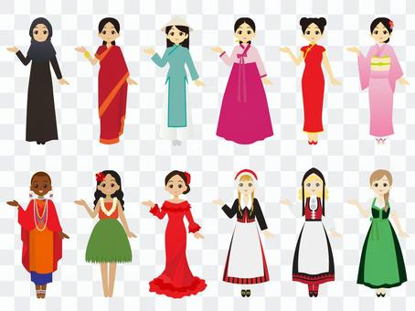 婦女穿著傳統服飾