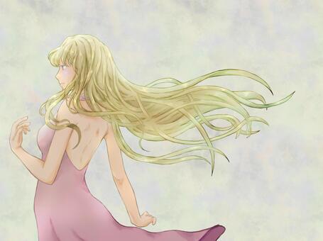 在風中飄揚的金發女人
