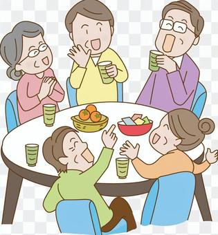 Elderly people who make a tea party